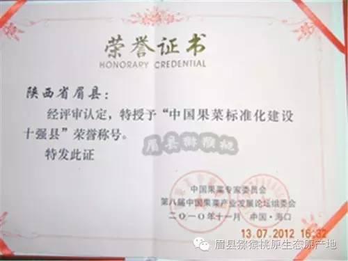 眉县猕猴桃荣誉榜
